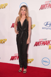 Michelle Pfeiffer looked sexy and sophisticated in a plunging black jumpsuit by Saint Laurent at the premiere of 'Ant-Man and the Wasp.'