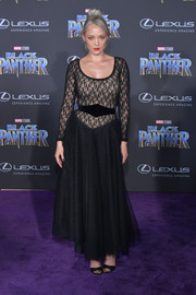 Pom Klementieff looked like a gothic ballerina in this lace and tulle gown by Nina Ricci at the world premiere of 'Black Panther.'