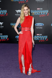 Lydia Hearst donned a dual-textured red gown with a layered skirt and a handkerchief hem for the premiere of 'Guardians of the Galaxy Vol. 2.'