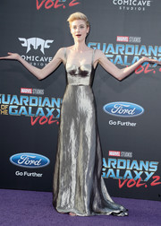 Elizabeth Debicki was space age-glam in a fluid silver corset gown by Bottega Veneta at the premiere of 'Guardians of the Galaxy Vol. 2.'
