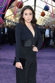 Chloe Bennet attended the premiere of 'Guardians of the Galaxy Vol. 2' carrying an on-trend black envelope clutch.