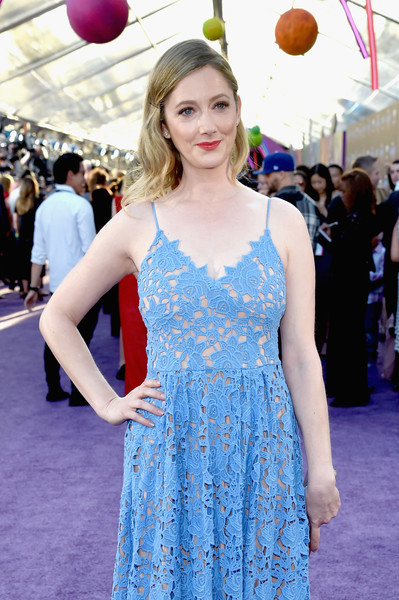 More Pics of Judy Greer Sundress (6 of 6) - Dresses & Skirts Lookbook - StyleBistro [guardians of the galaxy vol. 2,red carpet,dress,clothing,cobalt blue,electric blue,fashion,premiere,cocktail dress,red carpet,hairstyle,flooring,judy greer,dolby theatre,california,hollywood,disney,marvel,premiere,premiere]