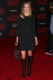 Natalie Morales completed her rocker-chic outfit with black knee-high boots.