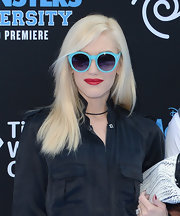 Gwen wore a pair of funky and fun sky blue round sunnies at the 'Monsters University' premiere.