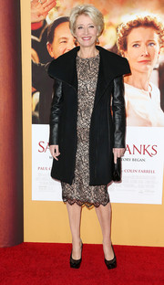 Emma Thompson stayed warm in ultra-chic style with this black leather-sleeve wool coat during the 'Saving Mr. Banks' premiere.