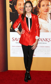 Bailee Madison looked smart in a bright red blazer layered over a black-and-white button-down at the premiere of 'Saving Mr. Banks.'