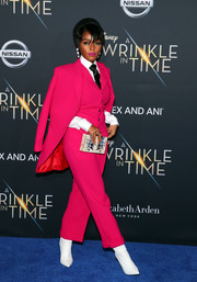 Janelle Monae was impossible to miss in her hot-pink Wolk Morais pantsuit at the premiere of 'A Wrinkle in Time.'