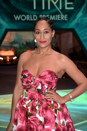 Tracee Ellis Ross paired a Chanel pearl bracelet with a strapless floral frock for the premiere of 'A Wrinkle in Time.'