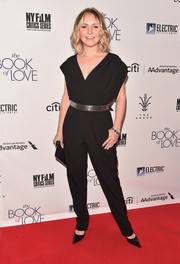 Beverley Mitchell kept it easy-breezy in a slouchy black jumpsuit by Eliza J at the premiere of 'The Book of Love.'
