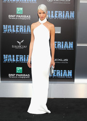 Sasha Luss looked fabulously otherworldly in a sleek white halter gown by Brandon Maxwell at the premiere of 'Valerian and the City of a Thousand Planets.'