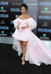 Rihanna went super frothy in a baby-pink Giambattista Valli Couture off-the-shoulder dress with voluminous sleeves and a flowing train at the premiere of 'Valerian and the City of a Thousand Planets.'