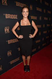 Jenny Pellicer donned a simple yet sexy LBD with a square neckline and a front slit for the premiere of 'The Bridge.'