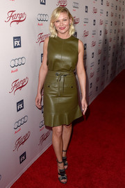 Kirsten Dunst looked cool and edgy in a sleeveless olive-green leather top by Proenza Schouler at the premiere of 'Fargo' season 2.