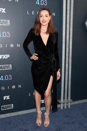Aubrey Plaza was classic and elegant in a black velvet wrap dress at the premiere of 'Legion' season 2.