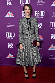 Sarah Paulson went for a vintage Valentino gingham dress when she attended the premiere of 'Feud: Bette and Joan.'
