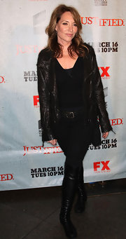 Katey Sagal stayed on trend in a pair of leather over the knee flat boots. The actress paired the au courant footwear with a matching leather jacket.