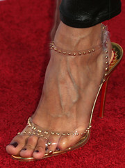 Noureen DeWulf wore a sexy pair of studded clear sandals by Christian Louboutin to the 'Sons of Anarchy' season 6 premiere.