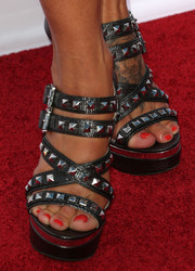 Charisma Carpenter chose a pair of edgy-glam studded platform sandals for the 'Sons of Anarchy' season 6 premiere.