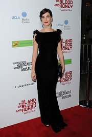 Zana Marjanovic opted for an elegant black velvet dress for the premiere of 'In the Land of Blood and Honey.'