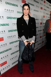 "Comedian Sarah Silverman toted around this large tote bag on the red carpet of ""Greenberg"". We would have much rather of seen her carrying a sleek clutch."