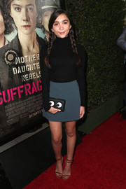 For her bag, Rowan Blanchard got a little playful with this Anya Hindmarch Imperial Eyes clutch.