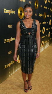 Taraji P. Henson went for a sexy-glam party look in a black and silver Bibhu Mohapatra cutout dress during the 'Empire' premiere.
