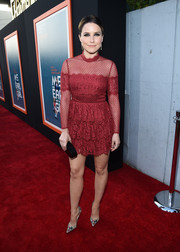 Sophia Bush got majorly girly in a magenta lace mini dress by Temperley London for the premiere of 'Me and Earl and the Dying Girl.'