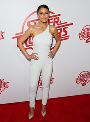 Emmanuelle Chriqui worked a fitted one-shoulder jumpsuit by Cushnie et Ochs at the premiere of 'Super Troopers 2.'