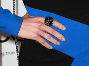 Julie Benz paired her blue and black dress with a large black cocktail ring complete with small rhinestones.