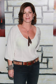 Marcia Gay Harden wore a unique-looking embroidered leather belt at a movie screening.