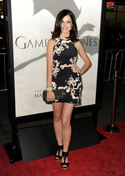 "Alexis Knapp sported a black and white number with floral designs for her red carpet look at the ""Game of Throne"" premiere in LA."