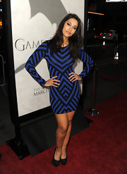 Janina Gavankar showed off some of her killer curves in this abstract, striped dress.