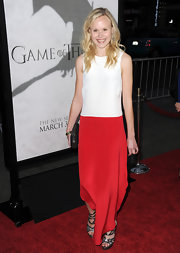 Alison Pill tried her hand at color blocking with this long, flowing red and white dress.