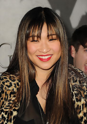 Jenna Ushkowitz's long straight 'do looked shiny and textured with her caramel highlights.