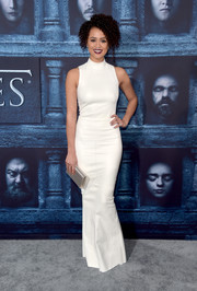 Nathalie Emmanuel showed off her figure in a form-fitting white gown by Jitrois at the 'Game of Thrones' season 6 premiere.