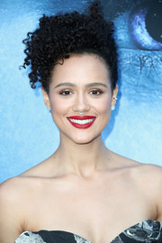 Nathalie Emmanuel wore her curls pinned up in a messy-chic style at the premiere of 'Game of Thrones' season 7.