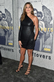 Black multi-strap heels by Gianvito Rossi sealed off Jennifer Aniston's look.