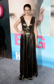 Shailene Woodley dropped jaws in a deep-V bronze Grecian gown by Elie Saab at the premiere of 'Big Little Lies.'
