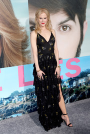 Nicole Kidman went for flirty elegance in a berry-embroidered, tiered ruffle gown by Altuzarra at the premiere of 'Big Little Lies.'
