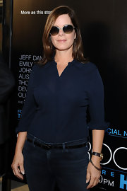 Marcia Gay Harden belted her jeans at the premiere of 'The Newsroom'.