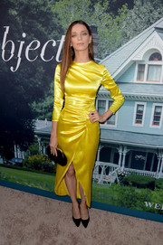 Angela Sarafyan brought a dazzling pop of color to the premiere of 'Sharp Objects' with this lemon-yellow satin dress by Rasario.