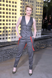 Evan Rachel Wood teamed her new androgynous look with a pair of perforated black patent leather heels.