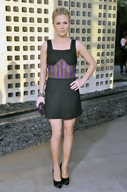 Anna Paquin gave her racy LBD an elegant finish with a pewter Cloud clutch.
