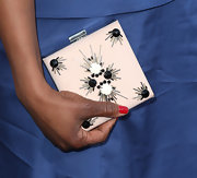 Sufe Bradshaw sported this chic square clutch with black and white embellishments while at the 'Veep' season 2 premiere.