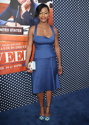 Sufe Bradshaw chose a matching satin skirt to top off her all-blue look.