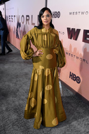 Tessa Thompson was a standout in a voluminous coil-print gown by Loewe at the premiere of 'Westworld' season 3.