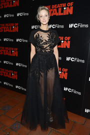 Andrea Riseborough donned a sheer, embroidered black top by Elie Saab for the premiere of 'The Death of Stalin.'