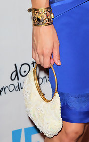 Crystal Allen wore an ornate gold cuff bracelet to the premiere of 'Life Happens.'