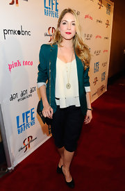 We loved Brooke Nevin's layered look in this teal blazer at the 'L!fe Happens' premiere.