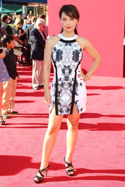 Ming-Na Wen turned up the heat in a sleeveless black-and-white mini dress with double slits during the premiere of 'The Lego Movie.'